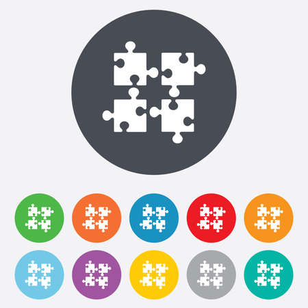 ingenuity: Puzzles pieces sign icon. Strategy symbol. Ingenuity test game. Round colourful 11 buttons. Vector
