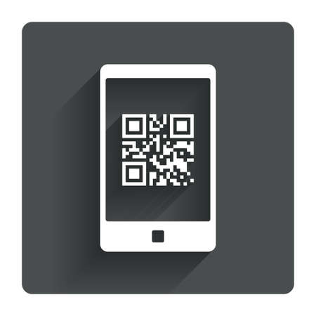Qr code sign icon. Scan code in smartphone symbol. Coded word - success! Gray flat square button with shadow. Modern UI website navigation. Vector