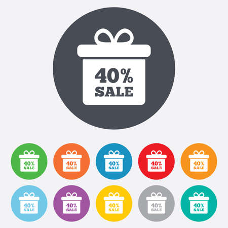 40% sale gift box tag sign icon. Discount symbol. Special offer label. Round colourful 11 buttons. Vector Vector