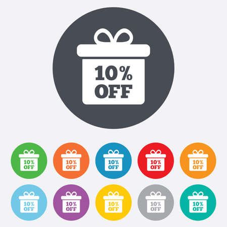 ten best: 10% sale gift box tag sign icon. Discount symbol. Special offer label. Round colourful 11 buttons. Vector Illustration