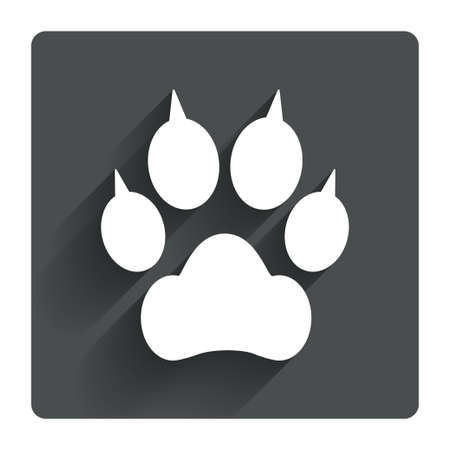 clutches: Dog paw with clutches sign icon. Pets symbol. Gray flat square button with shadow. Modern UI website navigation. Vector