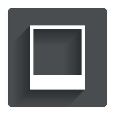Photo frame template sign icon. Empty polaroid photography symbol. Gray flat square button with shadow. Modern UI website navigation. Vector
