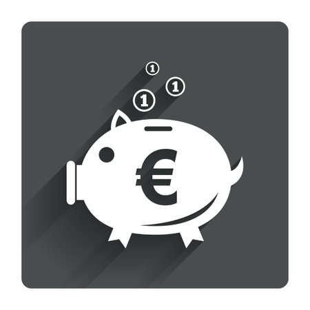 Piggy bank sign icon. Moneybox euro symbol. Gray flat square button with shadow. Modern UI website navigation. Vector