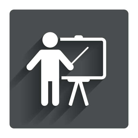 teachers: Presentation sign icon. Man standing with pointer. Blank empty billboard symbol. Gray flat square button with shadow. Modern UI website navigation. Vector