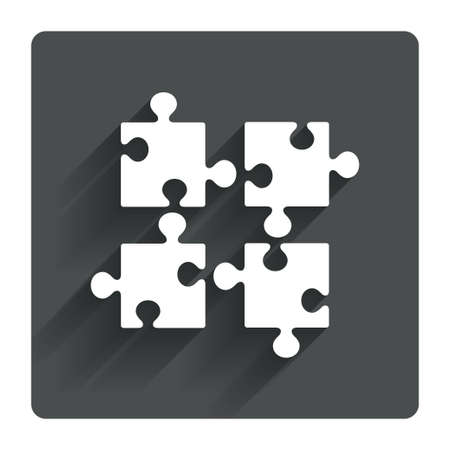 ingenuity: Puzzles pieces sign icon. Strategy symbol. Ingenuity test game. Gray flat square button with shadow. Modern UI website navigation. Vector