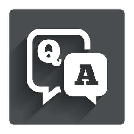 control de calidad: Pregunta icono de signo respuesta. Q & A de símbolos. Gris botón cuadrado plano con la sombra. Modern sitio web de la interfaz de usuario de navegación. Vector Vectores