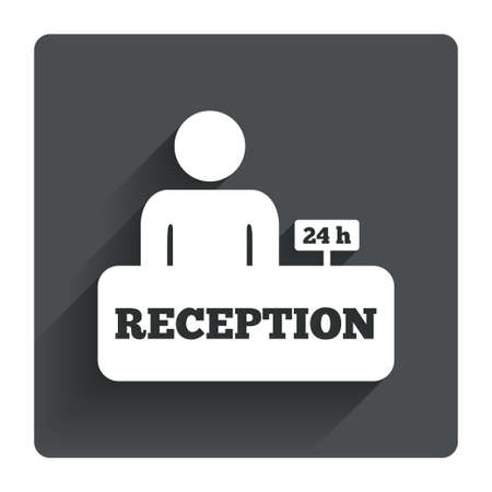 registration mark: Reception sign icon. 24 hours Hotel registration table with administrator symbol. Gray flat square button with shadow. Modern UI website navigation. Vector Illustration