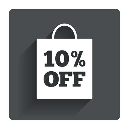 ten best: 10% sale bag tag sign icon. Discount symbol. Special offer label. Gray flat square button with shadow. Modern UI website navigation. Vector