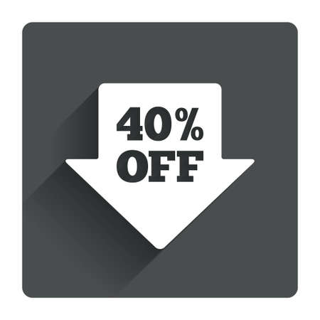 40% sale arrow tag sign icon. Discount symbol. Special offer label. Gray flat square button with shadow. Modern UI website navigation. Vector Vector