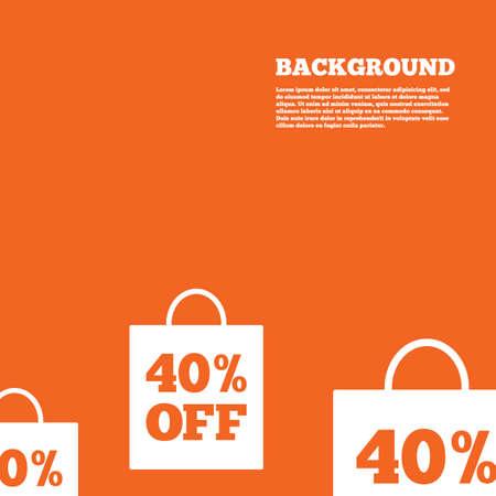 40% sale bag tag sign icon. Discount symbol. Special offer label. Orange background. Vector Vector