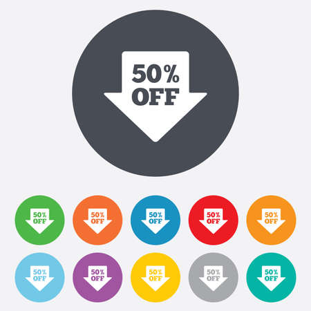 50% sale arrow tag sign icon. Discount symbol. Special offer label. Round colourful 11 buttons. Vector Vector