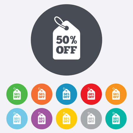 50% sale price tag sign icon. Discount symbol. Special offer label. Round colourful 11 buttons. Vector Vector