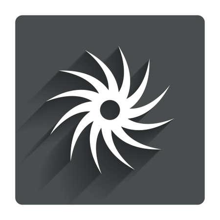 cutting blade: Sierra circular icono de la muestra de la rueda. Cortar s�mbolo de la cuchilla. Gris bot�n cuadrado plano con la sombra. Modern sitio web de la interfaz de usuario de navegaci�n. Vector Vectores
