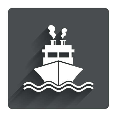 chimney corner: Ship or boat sign icon. Shipping delivery symbol. Smoke from chimneys or pipes. Gray flat square button with shadow. Modern UI website navigation. Vector