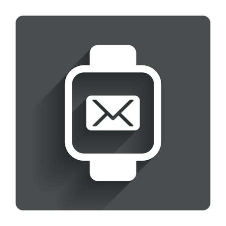 cut wrist: Smart watch sign icon. Wrist digital watch. Mail message chat symbol. Gray flat square button with shadow. Modern UI website navigation. Vector