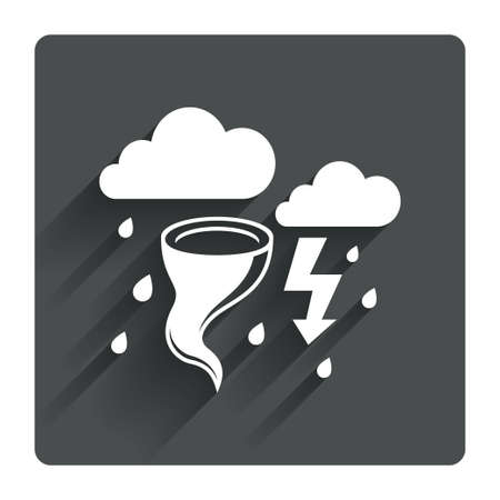 storm damage: Storm bad weather sign icon. Clouds with thunderstorm. Gale hurricane symbol. Destruction and disaster from wind. Insurance symbol. Gray flat square button with shadow. Modern UI website navigation. Vector