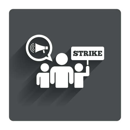 activists: Strike sign icon. Group of people symbol. Industrial action. Holding protest banner and megaphone. Gray flat square button with shadow. Modern UI website navigation. Vector