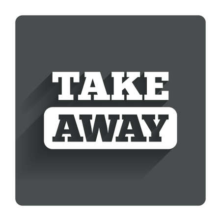 cut away: Take away sign icon. Takeaway food or coffee drink symbol. Gray flat square button with shadow. Modern UI website navigation. Vector Illustration