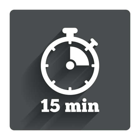 Timer sign icon. 15 minutes stopwatch symbol. Gray flat square button with shadow. Modern UI website navigation. Vector