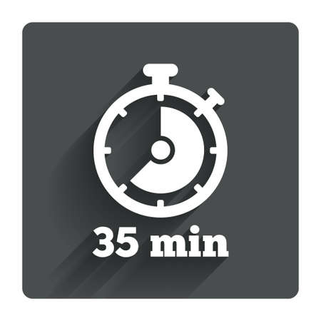 Timer sign icon. 35 minutes stopwatch symbol. Gray flat square button with shadow. Modern UI website navigation. Vector