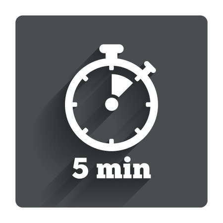 Timer sign icon. 5 minutes stopwatch symbol. Gray flat square button with shadow. Modern UI website navigation. Vector