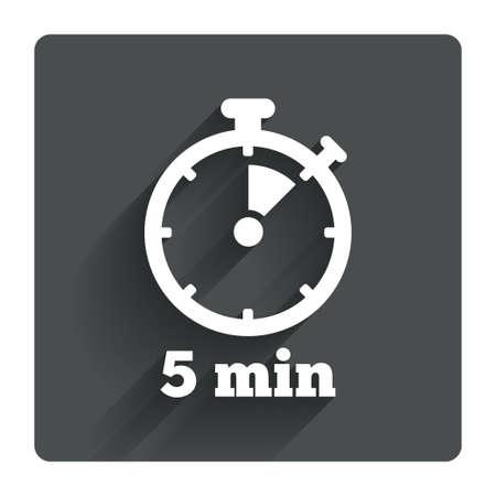 Timer teken icoon. 5 minuten stopwatch symbool. Grijze platte vierkante knop met schaduw. Modern UI website navigatie. Vector Stock Illustratie