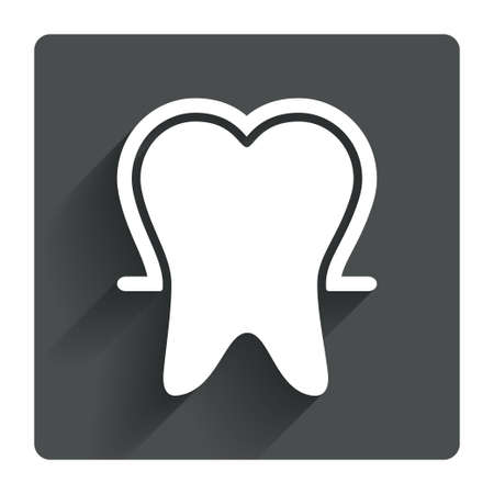 Tooth enamel protection sign icon. Dental toothpaste care symbol. Healthy teeth. Gray flat square button with shadow. Modern UI website navigation. Vector Vector