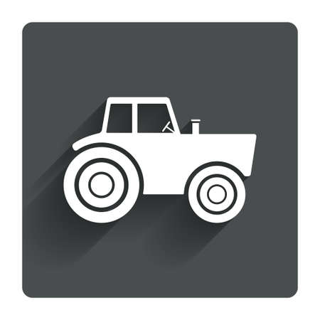 tractor sign: Tractor sign icon. Agricultural industry symbol. Gray flat square button with shadow. Modern UI website navigation. Vector