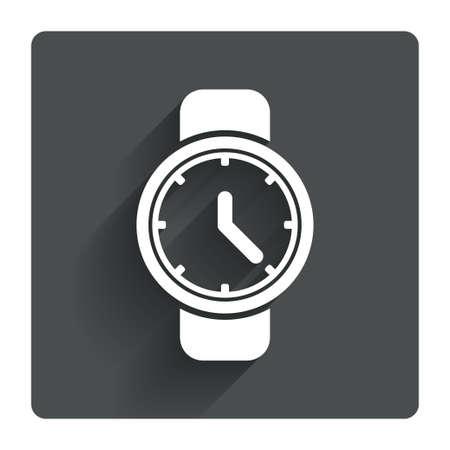 cut wrist: Wrist Watch sign icon. Mechanical clock symbol. Men hand watch. Gray flat square button with shadow. Modern UI website navigation. Vector