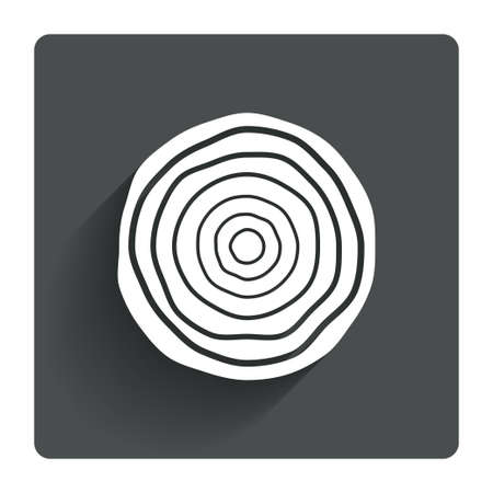 log: Wood sign icon. Tree growth rings. Tree trunk cross-section. Gray flat square button with shadow. Modern UI website navigation. Vector