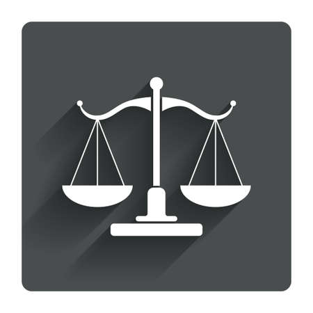 court symbol: Scales of Justice sign icon. Court of law symbol. Gray flat square button with shadow. Modern UI website navigation. Vector