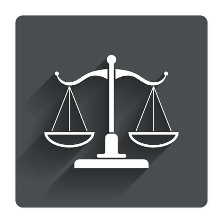 scale of justice: Scales of Justice sign icon. Court of law symbol. Gray flat square button with shadow. Modern UI website navigation. Vector