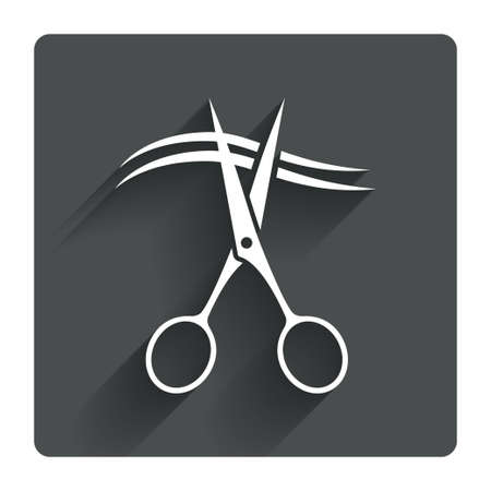 Scissors cut hair sign icon. Hairdresser or barbershop symbol. Gray flat square button with shadow. Modern UI website navigation. Vector