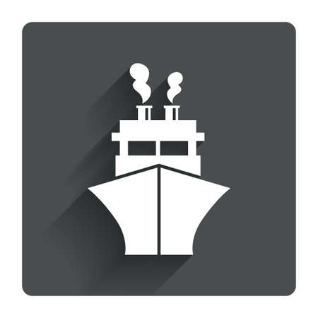 Ship or boat sign icon. Shipping delivery symbol. Gray flat square button with shadow. Modern UI website navigation. Vector Vector
