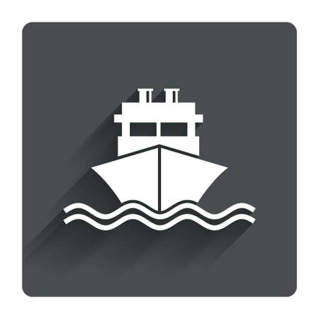 Ship or boat sign icon. Shipping delivery symbol. With chimneys or pipes. Gray flat square button with shadow. Modern UI website navigation. Vector