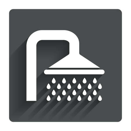 Shower sign icon. Douche with water drops symbol. Gray flat square button with shadow. Modern UI website navigation. Vector Illustration