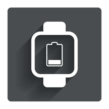 Smart watch sign icon. Wrist digital watch. Low battery energy symbol. Gray flat square button with shadow. Modern UI website navigation. Vector Vector