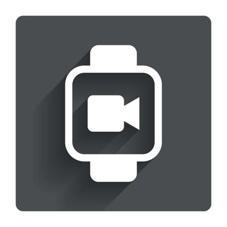 watch video: Smart watch sign icon. Wrist digital watch. Video camera symbol. Gray flat square button with shadow. Modern UI website navigation. Vector Illustration