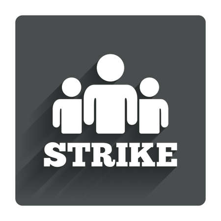 shadow people: Strike sign icon. Group of people symbol. Industrial action. People protest. Gray flat square button with shadow. Modern UI website navigation. Vector