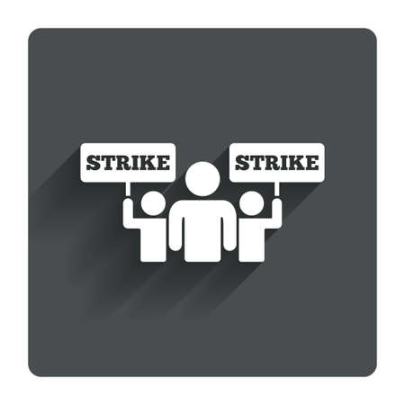 activists: Strike sign icon. Group of people symbol. Industrial action. People holding protest banner. Gray flat square button with shadow. Modern UI website navigation. Vector