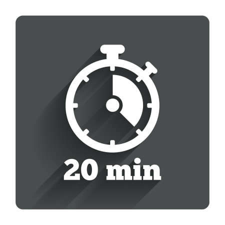 Timer sign icon. 20 minutes stopwatch symbol. Gray flat square button with shadow. Modern UI website navigation. Vector
