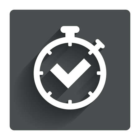 corner clock: Timer sign icon. Check stopwatch symbol. Gray flat square button with shadow. Modern UI website navigation. Vector