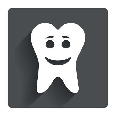 Tooth happy face sign icon. Dental care symbol. Healthy teeth. Gray flat square button with shadow. Modern UI website navigation. Vector Vector