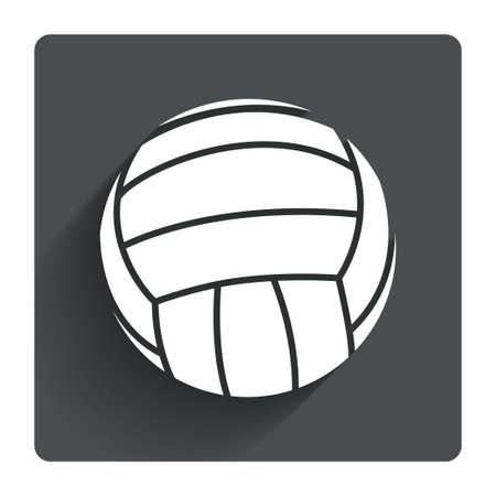 Volleyball signe icône. Plage sport symbole. Bouton carré plat gris avec des ombres. Moderne site UI navigation. Vecteur