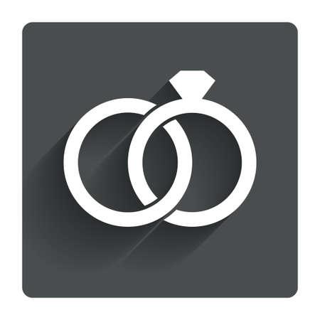 anillos de matrimonio: Los anillos de boda firman icono. S�mbolo de compromiso. Gris bot�n cuadrado plano con la sombra. Modern sitio web de la interfaz de usuario de navegaci�n. Vector
