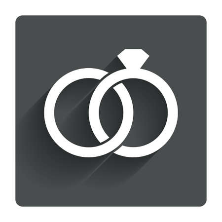 diamond rings: Wedding rings sign icon. Engagement symbol. Gray flat square button with shadow. Modern UI website navigation. Vector Illustration