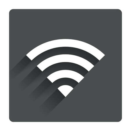 wifi sign: Wifi sign. Wi-fi symbol. Wireless Network icon. Wifi zone. Gray flat square button with shadow. Modern UI website navigation. Vector Illustration