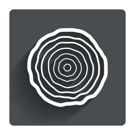 Wood sign icon. Tree growth rings. Tree trunk cross-section. Gray flat square button with shadow. Modern UI website navigation. Vector