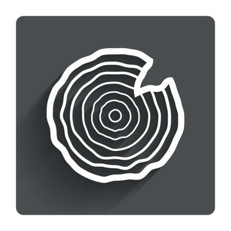 nick: Wood sign icon. Tree growth rings. Tree trunk cross-section with nick. Gray flat square button with shadow. Modern UI website navigation. Vector Illustration