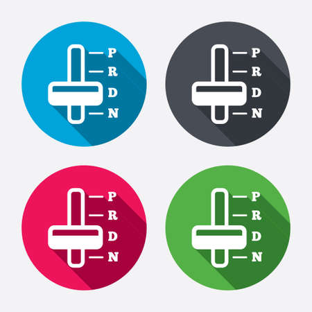 automatic transmission: Automatic transmission sign icon. Auto car control symbol. Circle buttons with long shadow. 4 icons set. Vector Illustration